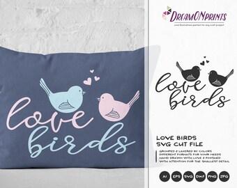 Love Birds SVG, Valentine's Day svg file, Birds SVG, Valentine Svg, Love SVG, Dxf, Eps, Svg for Silhouette, Svg for Cricut DOP005