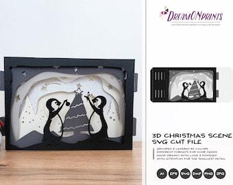 Christmas 3D Layered Design   3D Christmas Scenery   Paper Cut Design