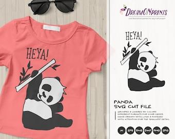 Panda SVG Funny Panda Bear, Kids SVG, Cute Wild Svg Cut File, Nature, Animals Svg DXF Files for Cricut, Silhouette Cutting Machines DOP392