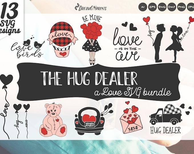 Featured listing image: The Hug Dealer SVG Bundle - a Valentines Day Svg Bundle, Love Bundle