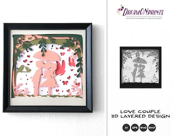 Love Couple 3D Layered Design   Valentine's Day 3D SVG