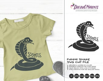 Snake SVG Smile, Kids SVG, Cute Wild Svg Cut File, Nature, Animals Svg for Cricut, Silhouette Cutting Machines DOP330