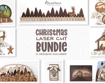 Christmas Laser Cut Bundle   Decorations Glowforge SVG Files