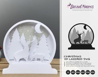 Snow Globe Christmas 3D Layered Design   Winter Multi Layer Design   Laser Cut Files