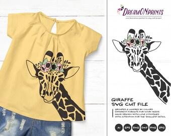 Giraffe SVG Giraffe Face with Flowers, Kids SVG, Cute Wild Svg Cut File, Nature, Animals Svg for Cricut, Silhouette Cutting Machines DOP320