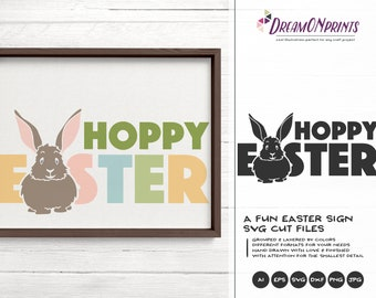 Hoppy Easter SVG, Easter Bunny Svg Funny Easter Svg Cut Files, Happy Easter SVG, DXF for Silhouette, Svg for Cricut DOP250