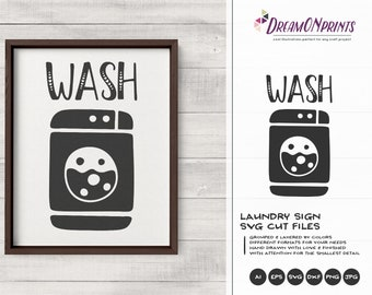 Laundry Signs SVG | Wash SVG, DXF, Eps, Png