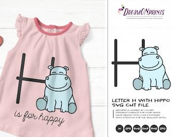 Hippo SVG Letter H SVG | Monogram Letter H