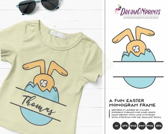Easter Bunny Monogram Frame SVG Funny Easter Svg Cut Files, Bunny SVG Easter, DXF, Svg for Silhouette, Svg for Cricut Cut Files DOP196