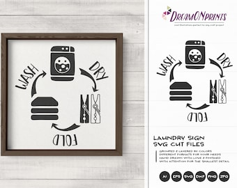 Laundry Signs SVG    Wash, Dry, Fold, Repeat SVG   Sign Making SVG