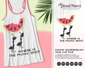 Funny Picnic SVG Ant Squad | Funny Summer SVG | Watermelon Cut Files