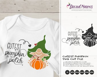 Cutest Pumpkin in the Patch SVG | Fall Quote SVG Design | Children Svg