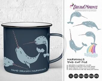 Narwhal SVG Cut Files, Unicorn SVG - Unicorn of the Sea  DOP101