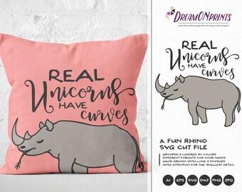 Rhino SVG Unicorn Svg, Rhinoceros Svg, Real Unicorns Have Curves, Unicorn Cut files DOP121