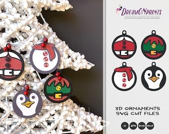 Christmas Ornaments | 3D Layered Paper Ornament | Santa Claus, Elf, Penguin & Snowman