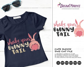 Shake Your Bunny Tail SVG Bunny Butt SVG Easter Bunny Svg Funny Easter Svg Cut Files, Bunny Svg, DXF for Silhouette, Svg for Cricut DOP251