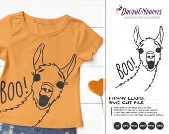 Halloween Llama SVG Boo! | Funny Halloween Illustration