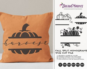 Fall Split Monogram SVG Pumpkin | Autumn Split Monogram Design§