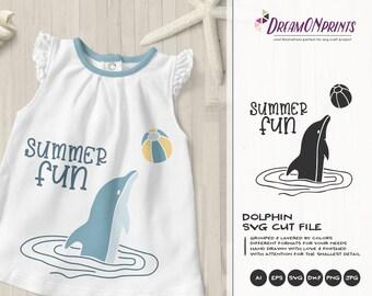 Summer Fun SVG Dolphin   Summer Shirt design   Dolphin SVG