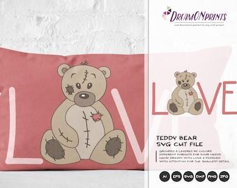 Teddy Bear SVG, Bear SVG Files, Baby and Kids Illustrations, Toys svg Stuffed Animals, Kids SVG Cutting Files DOP012
