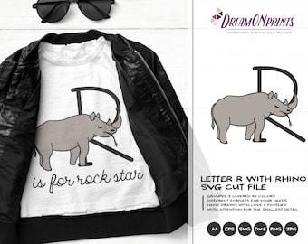 Rhino SVG Letter R SVG | Monogram Letter R with Rhinoceros