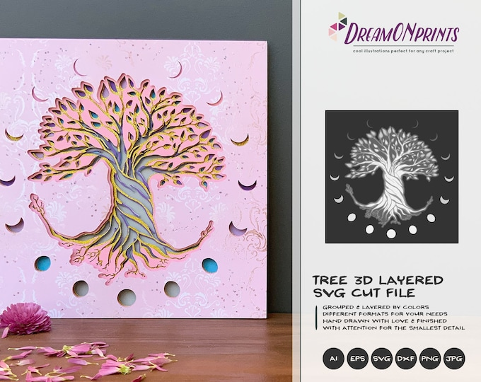 Featured listing image: Tree 3D SVG | Tree SVG 3D Layered Design | Moon Phases