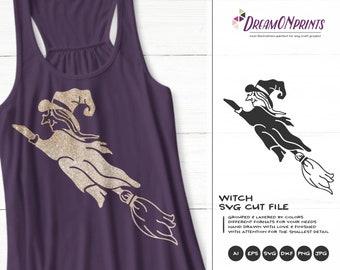 Halloween Witch SVG Broom | Halloween SVG Design | Flying Witch SVG