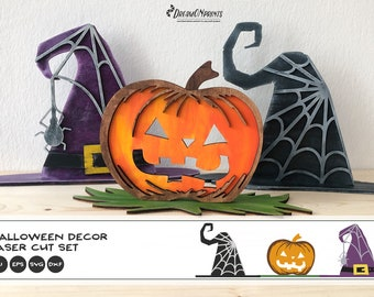 Halloween Laser Cut Designs   Witch Hat and Pumpkin Bundle