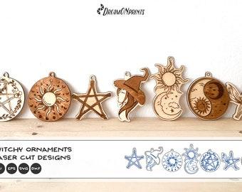 Halloween Laser Cut Bundle | Witch Ornaments SVG Bundle