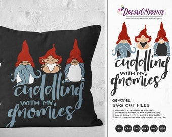 Gnomes SVG - Cuddling with My Gnomies Svg Family Svg Gnomes SVG, SVG Garden Gnome Svg, Dxf for Cricut, Silhouette Cutting Machines DOP045