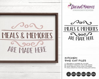Kitchen SVG, Meals and Memories are Made Here SVG, Apron Svg Designs, Sign Making Cooking svg Cricut Explore DOP210