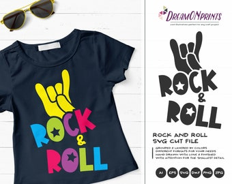 Rock and Roll SVG Cutting Files, Music Svg, Rock Music SVG, Guitar SVG, Rock Hand Cutting Files for Cricut, Silhouette, Htv Svg DOP139