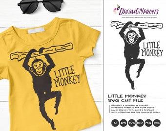Monkey SVG Jungle Animals, Kids SVG Little Monkey, Cute Wild Svg, Nature, Svg DXF Files for Cricut, Silhouette Cutting Machines DOP312
