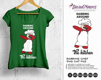 Cooking SVG, Kitchen SVG Dabbing SVG, Chef Svg, Dabbing Around the Kitchen Dxf Files for Cricut, Silhouette Cutting Machines DOP146