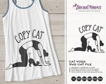 Copy Cat Svg, Funny Yoga Svg Yoga Cat, Meditate SVG,, Cat Svg Pets, Animals Svg Cute Svg Cut File, Nature Svg for Cricut, Silhouette DOP386