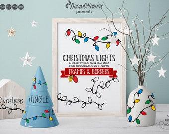 Christmas Lights SVG Bundle | Light Bulbs Frames & Borders