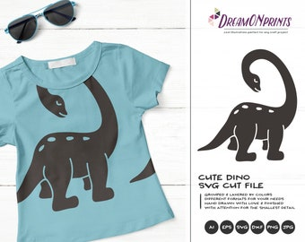 Dinosaur SVG Funny Dino, Kids SVG, Cute Dino Svg Cut File, Nature, Animals Svg DXF Files for Cricut, Silhouette Cutting Machines DOP288
