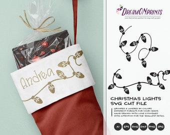 Christmas Lights SVG | Text Dividers Cut files | Christmas Dividers Svg | Festive Lights Design