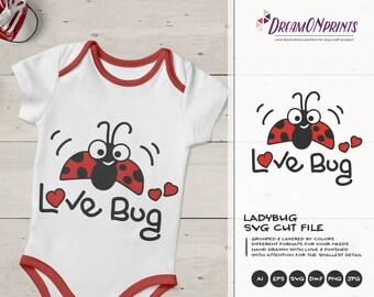Love Bug SVG Valentine's Day | Ladybug SVG | Love SVG