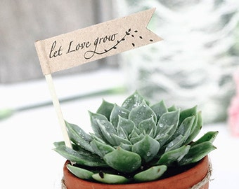 "DIY succulent favour flag (small size)- Text editable ""Let Love Grow"" flag, INSTANT Digital Download, Personalised tags , DIY thank you tag"