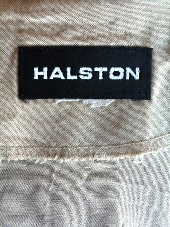 90's HALSTON Khaki Dress Size 10, Beige Long Dres… - image 4