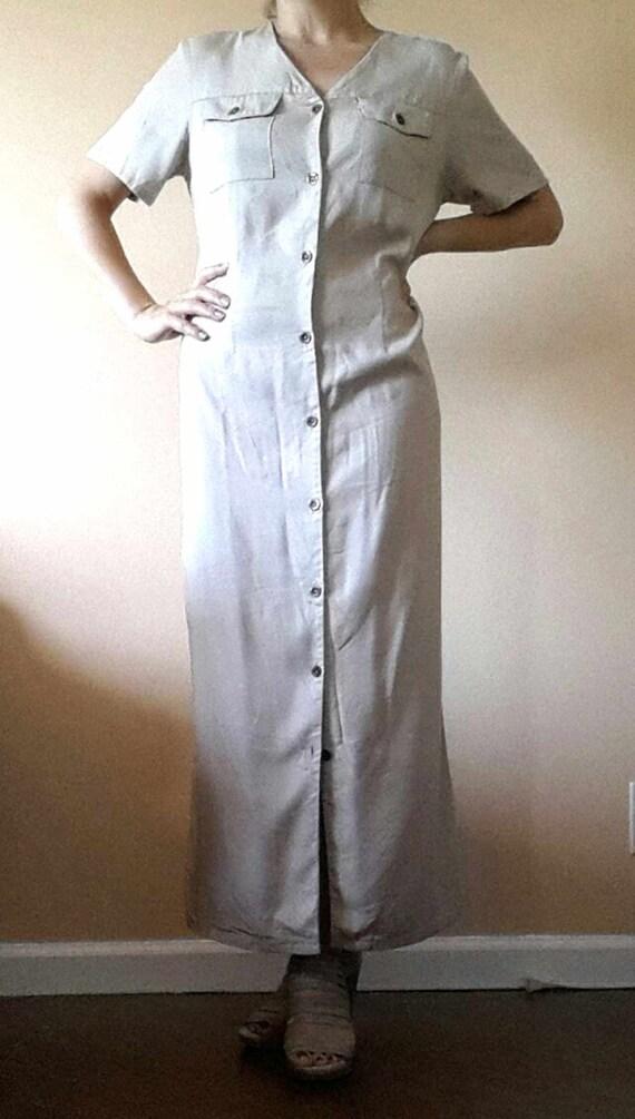 90's HALSTON Khaki Dress Size 10, Beige Long Dres… - image 3