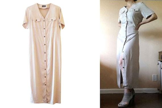 90's HALSTON Khaki Dress Size 10, Beige Long Dres… - image 1