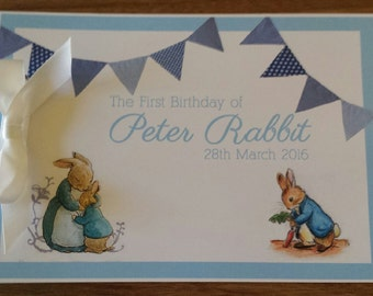 Peter Rabbit Name Birthday Sign in Guest Book 1st First Birthday Custom Made Unique Personalized