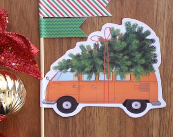 Christmas Cake Topper Custom Made Vintage Car Kombi Van with Christmas Tree Cake Decoration Double sided