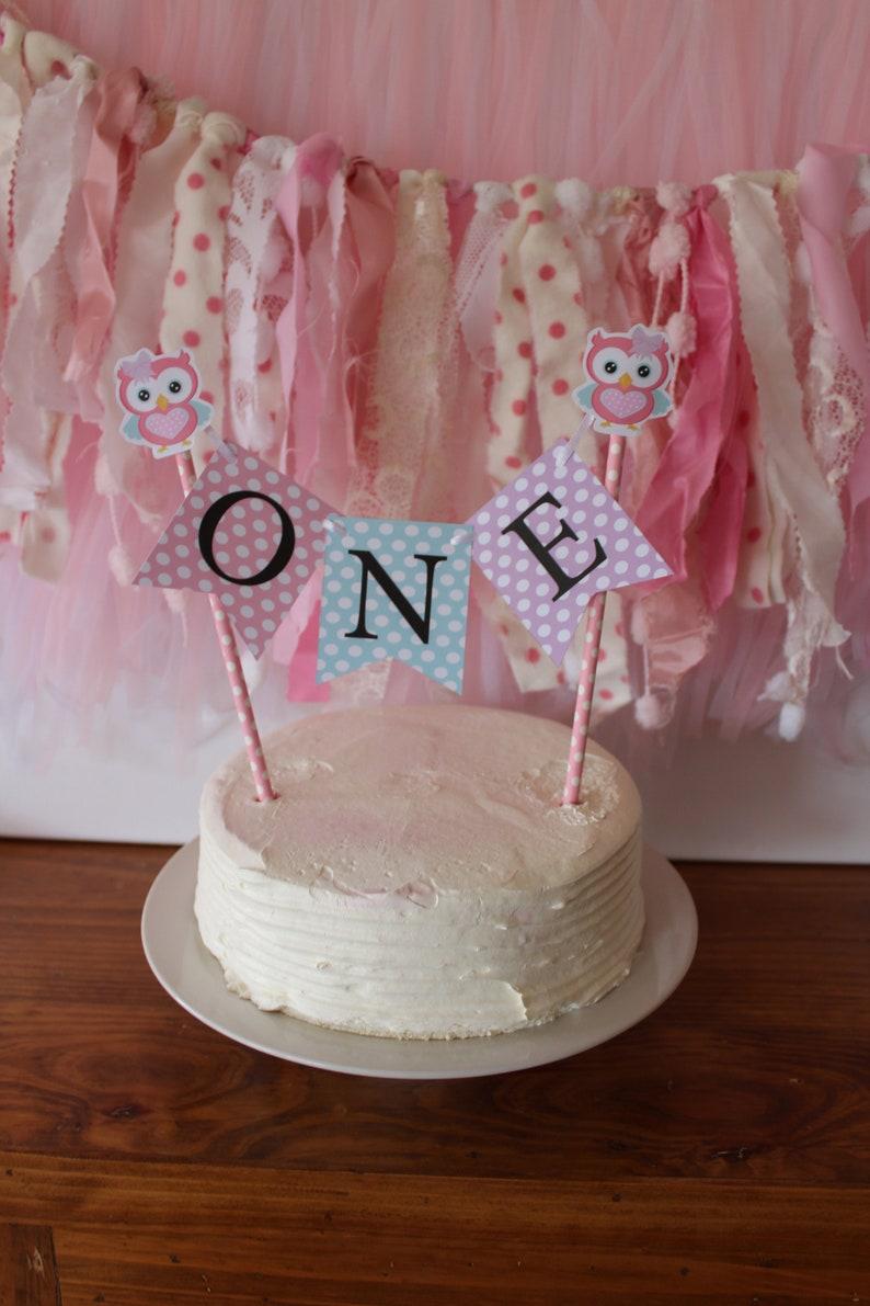 Fabulous Owl Cake Bunting One 1St First Birthday Handmade Lilac Teal Etsy Funny Birthday Cards Online Amentibdeldamsfinfo