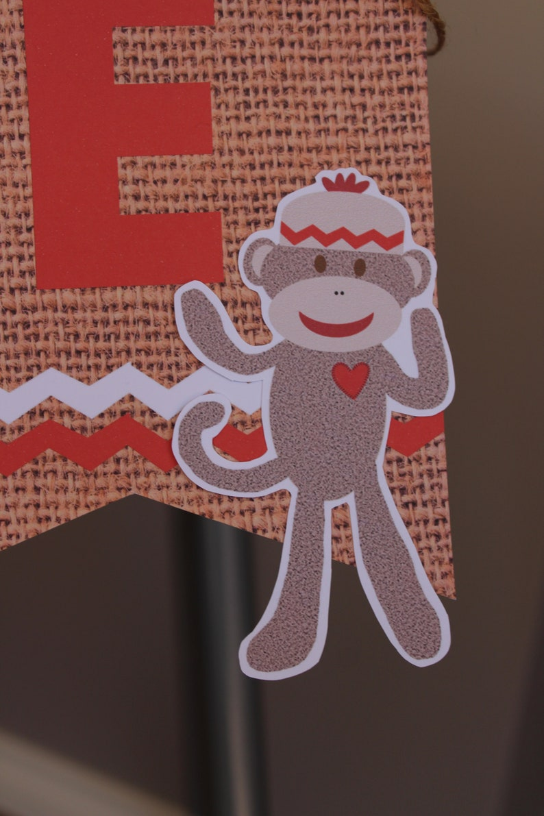 Sock Monkey ONE High Chair Bunting Banner ONE Banner Custom Made Hessian Look 1st First Birthday Decoration