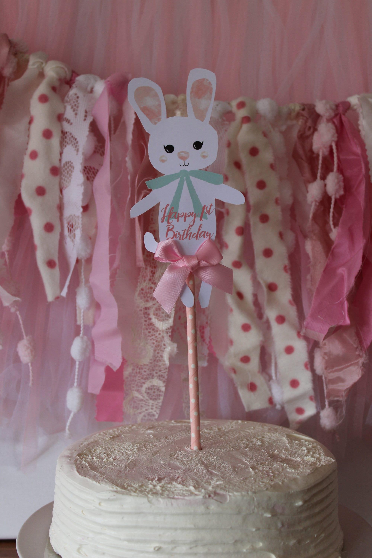 Sensational Bunny Rabbit Happy Birthday Cake Topper Cake Topper With Bow Etsy Personalised Birthday Cards Epsylily Jamesorg
