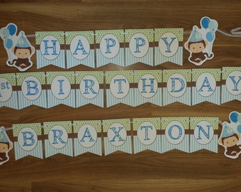 Monkey Happy Birthday Personalized Name & Number 1st First Birthday Custom Made  Smash Cake Photo Shoot Birthday Decor Wall Bunting set