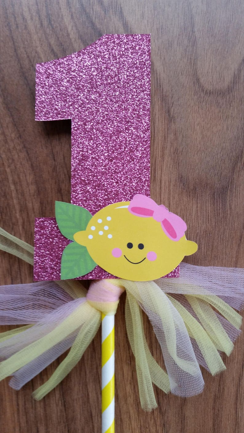 Pink Lemonade Number 1 Cake Topper with Bow 1st First Birthday Custom Made Glitter Birthday Cake Decoration
